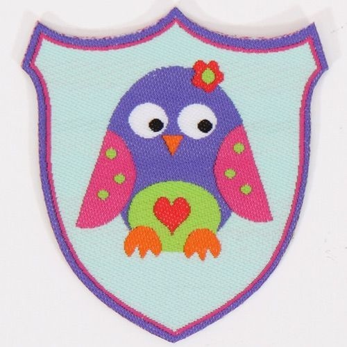 cute purple owl woven label with flower