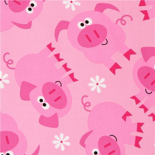 pink pig flannel fabric by Timeless Treasures USA