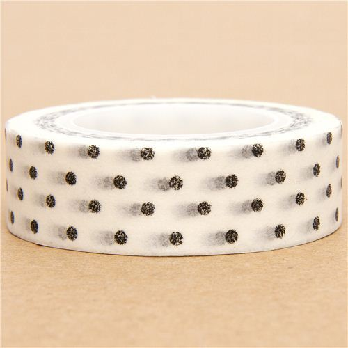 white Washi Masking Tape deco tape black dots