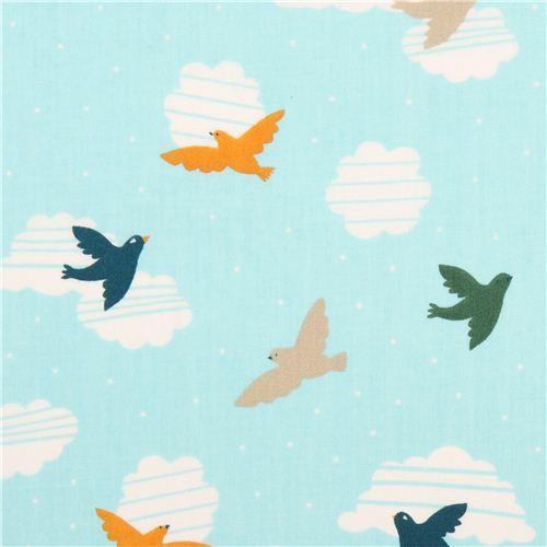 blue bird cloud sky birch organic fabric Everyday Party