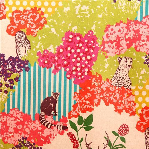 hide echino Canvas fabric lime natural stag forest owl