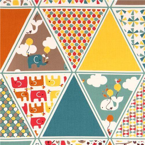 patchwork elephant birch organic fabric Frolic Triangles
