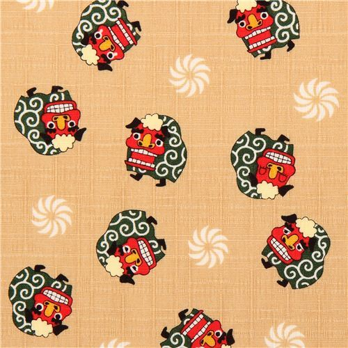 beige structured Japanese dragon dobby fabric Cosmo Japan