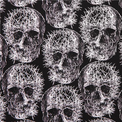 black Michael Miller skull needle Halloween fabric Freak Out