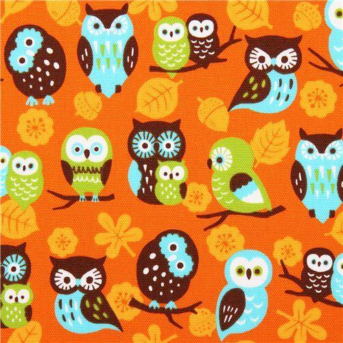 orange Cosmo owl oxford fabric leaf acorn Japan