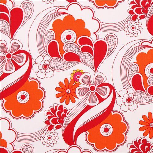 white flower wave canvas fabric Robert Kaufman red-orange USA