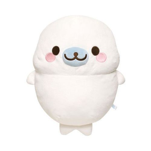 white Mamegoma seal standing plush toy pillow by San-X