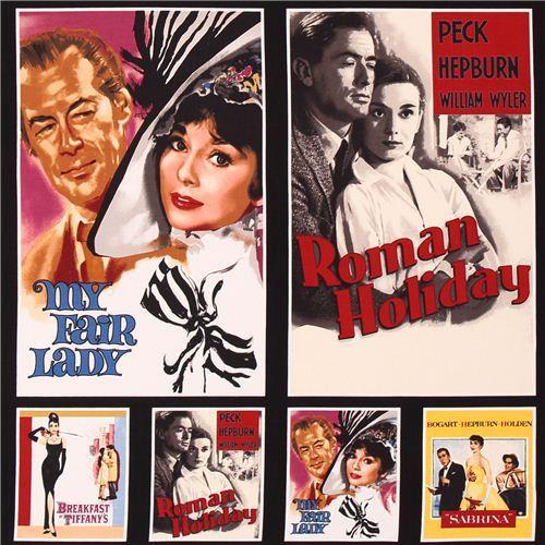 Audrey Hepburn movie fabric Robert Kaufman Hollywood Icons