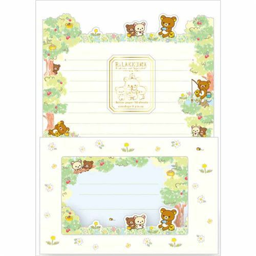 cute Rilakkuma flower windowed envelope Letter Paper Set by San-X