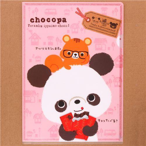 pink Chocopa panda bear chocolate A4 plastic file folder
