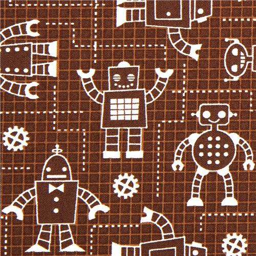 brown organic fabric with robots by Robert Kaufman