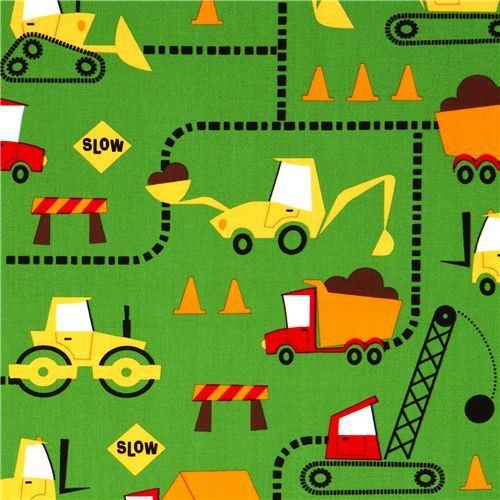 green excavator fabric construction site by Robert Kaufman