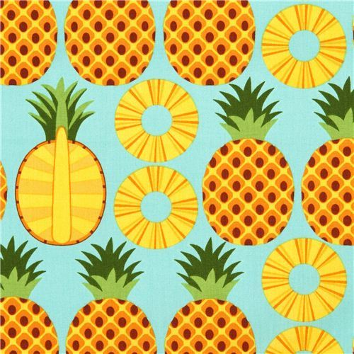 aqua pineapple fruit fabric Timeless Treasures from the USA