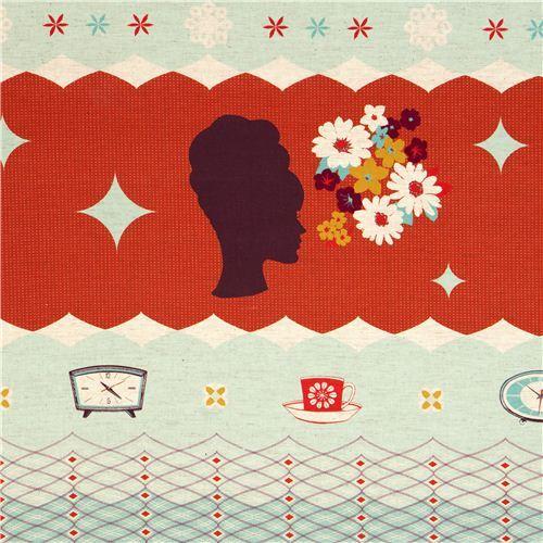 red Kokka retro fabric with clocks woman head Japan