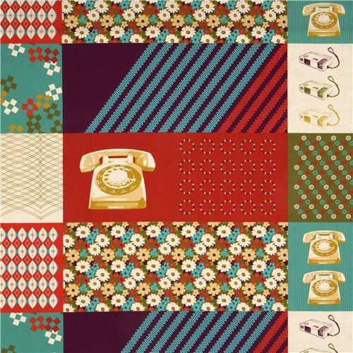 red Kokka retro fabric with phone flower rectangular