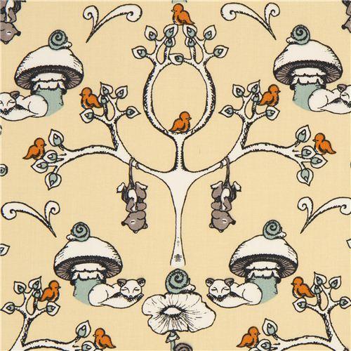 beige birch organic fabric from the USA trees & mushrooms