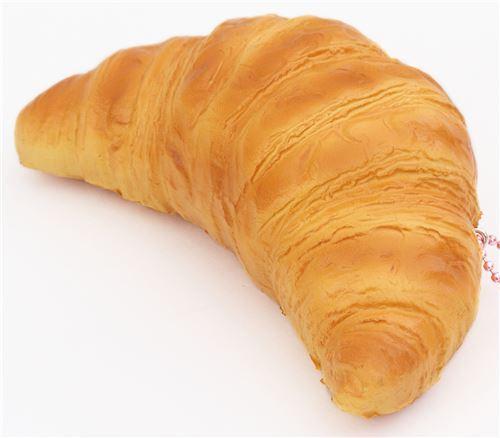 cute croissant pastry squishy charm cellphone charm kawaii