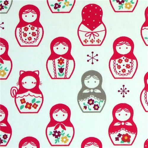 pink matryoshka dolls Kokka fabric Japan babushka
