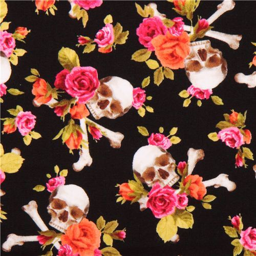 black fabric pink orange flowers Skull cross bones 'Charm Skull' Michael Miller