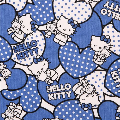 Hello Kitty oxford fabric blue hearts by Sanrio from Japan