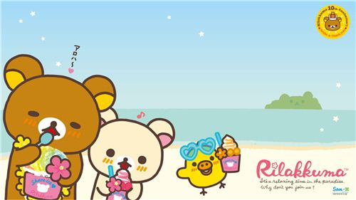 Rilakkuma with shave ice wallpaper from the latest Hawaii collection
