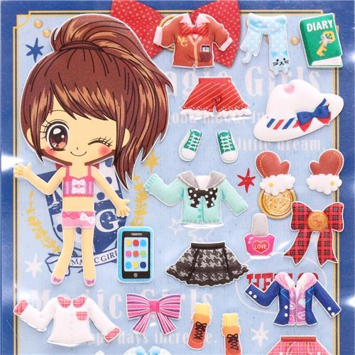 Kamio dress up doll 3D stickers school girl chic