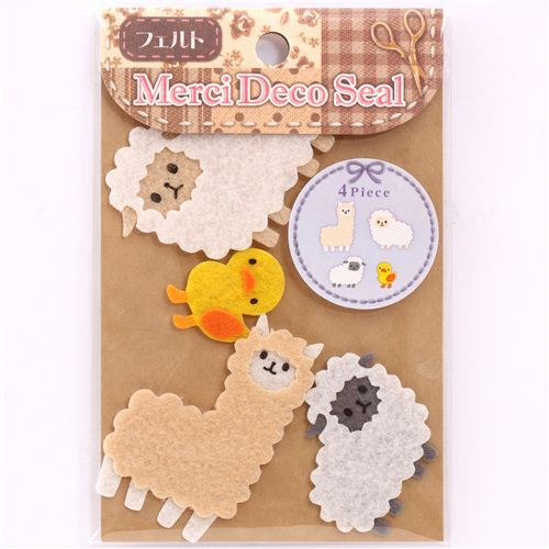 alpaca sheep duck felt stickers by Kamio from Japan