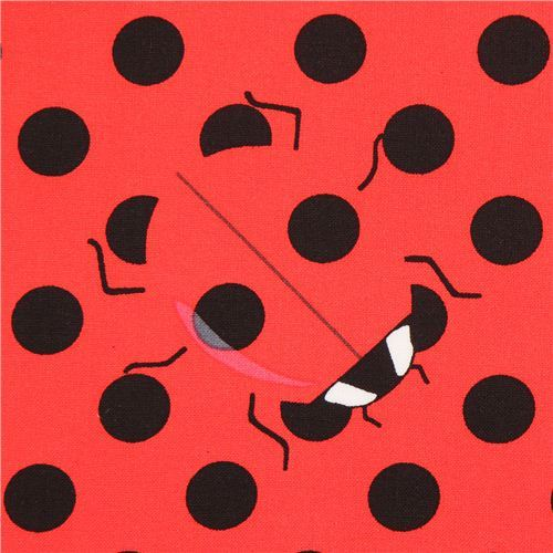 red dot fabric with ladybugs Timeless Treasures USA