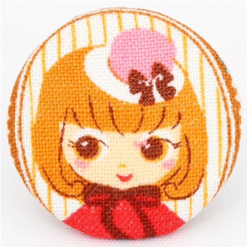 cute Paris girl Cosmo button fabric button Japan