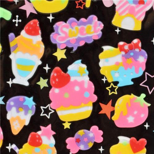 kawaii cupcakes neon sticker Japan kawaii