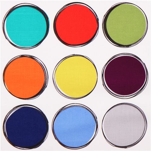 white Paint Lids circle dot fabric Michael Miller