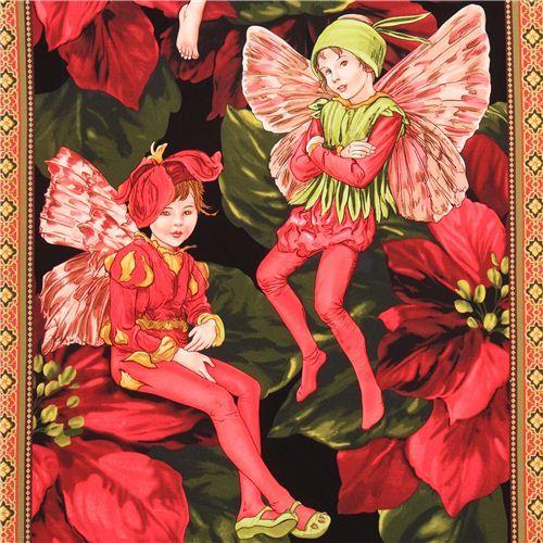 Holiday Fairies Panel fairy tale fabric Michael Miller
