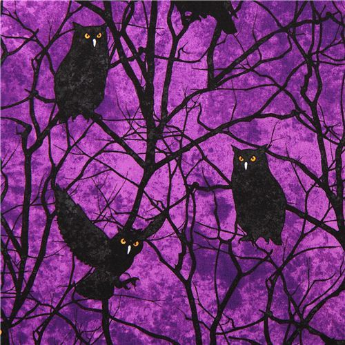 purple owl Halloween fabric Stonehenge Fright Night