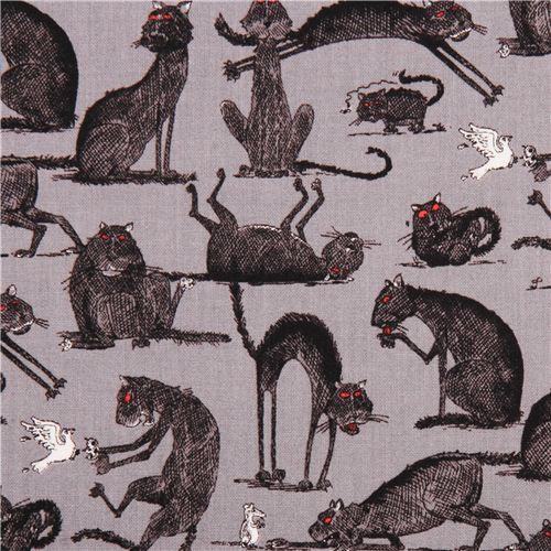 grey The Odditys black cat fabric by Elizabeth's Studio USA