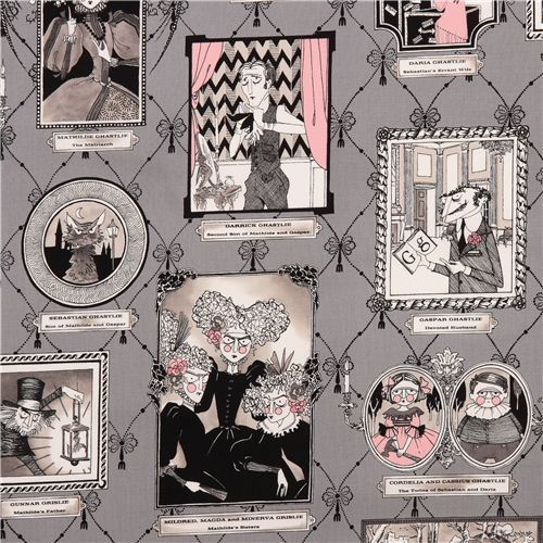 grey witch gallery fabric Alexander Henry The Ghastlies