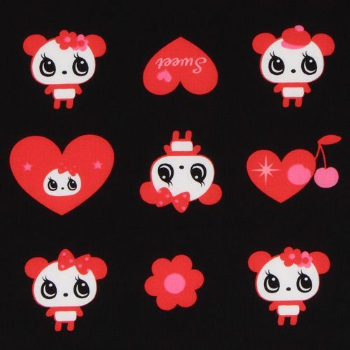 black big panda fabric with red hearts Japan