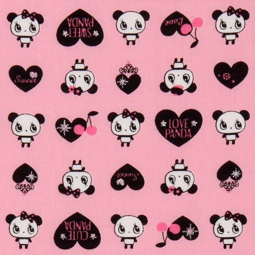 pink kawaii panda fabric with black hearts Japan