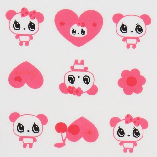 white big panda fabric with pink hearts Japan
