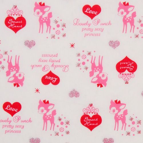 white kawaii Bambi fabric with glitter from Japan
