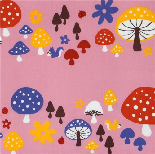 pink fly agaric fabric squirrel by Kokka Japan