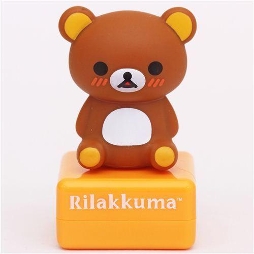 orange Rilakkuma bear with donut stamp by San-X