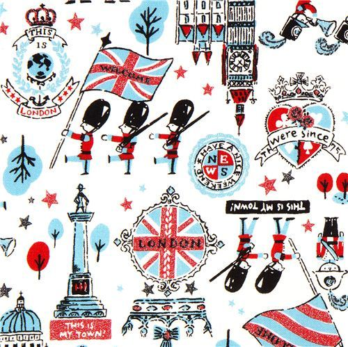 London fabric with Big Ben emblem guard by Kokka