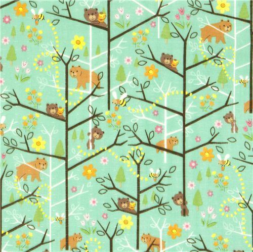 cute gauze fabric forest bear bee from Japan