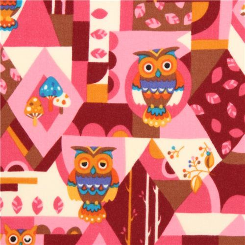 cream-pink geo owl flannel fabric by Kokka from Japan