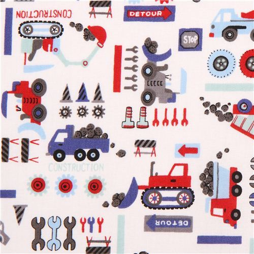 white Kokka construction site car fabric for boys from Japan