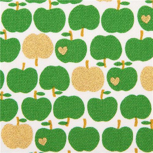 white Kokka oxford fabric green apple with gold metallic