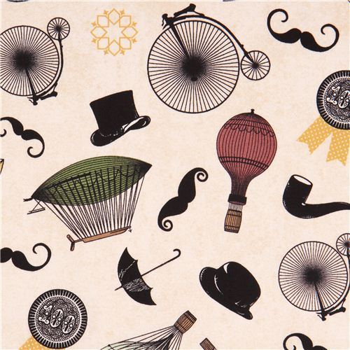 cream hot air balloon tophat fabric by Andover USA