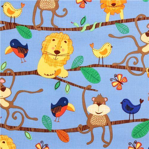 blue Michael Miller animal fabric jungle lion