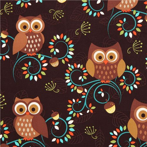 cute brown owl fabric Michael Miller from the USA