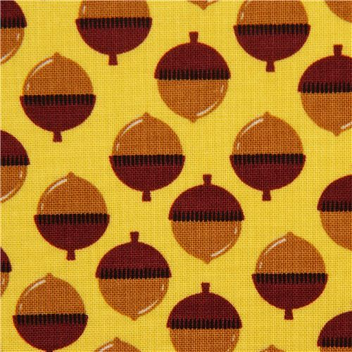yellow acorn nut fabric by Michael Miller from the USA